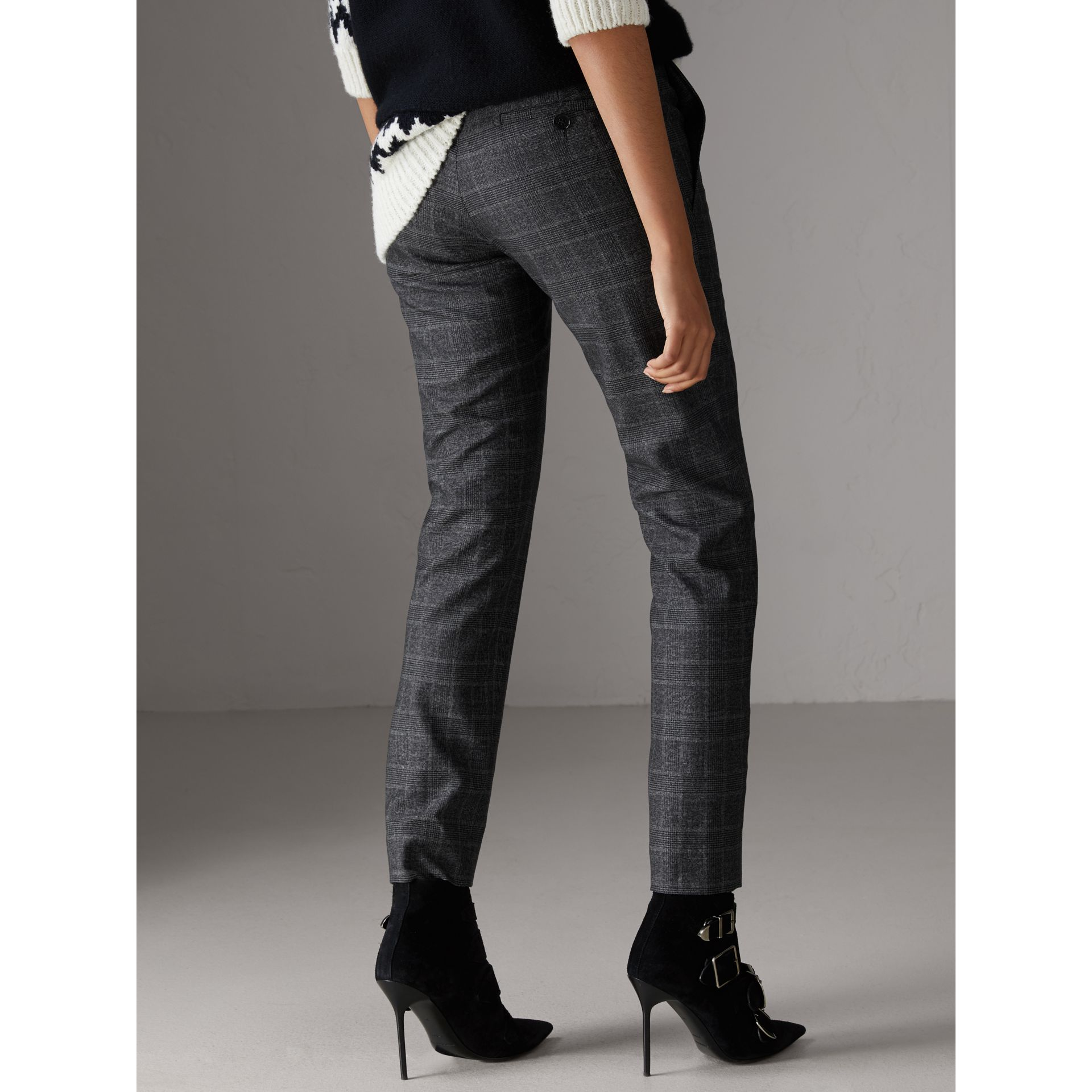 Prince of Wales Check Wool Blend Trousers in Dark Grey - Women | Burberry Canada - gallery image 2