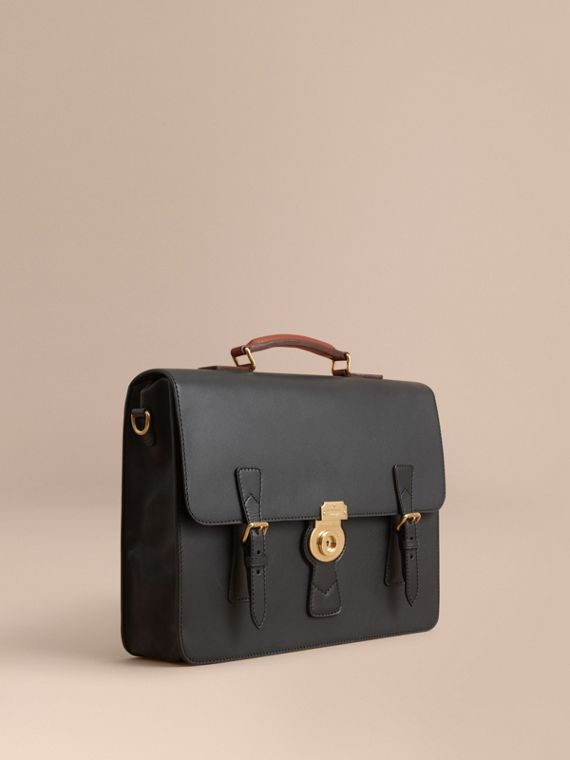 Le sac cartable en cuir trench Noir