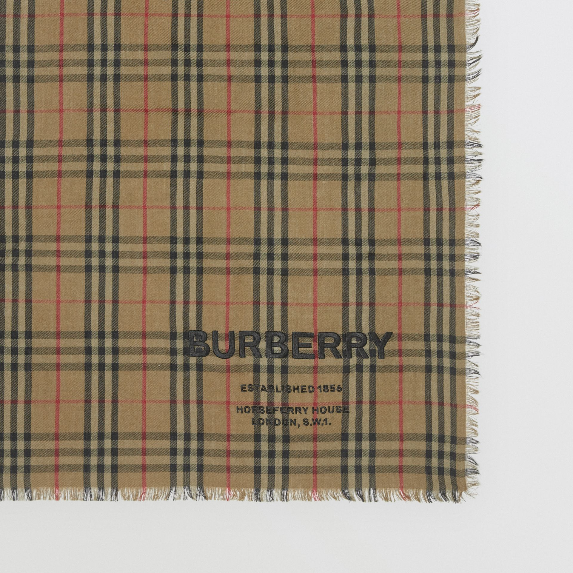 Embroidered Vintage Check Lightweight Cashmere Scarf in Olive Green | Burberry Singapore - gallery image 1