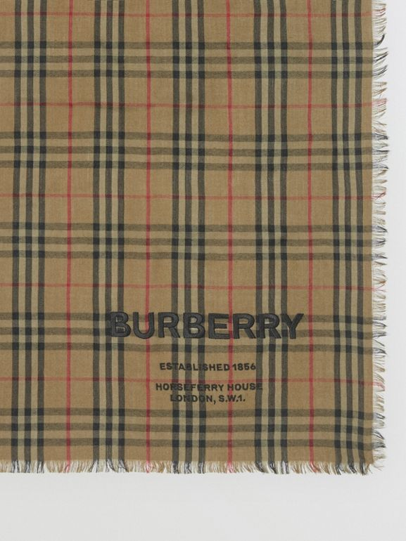 Embroidered Vintage Check Lightweight Cashmere Scarf in Olive Green | Burberry - cell image 1