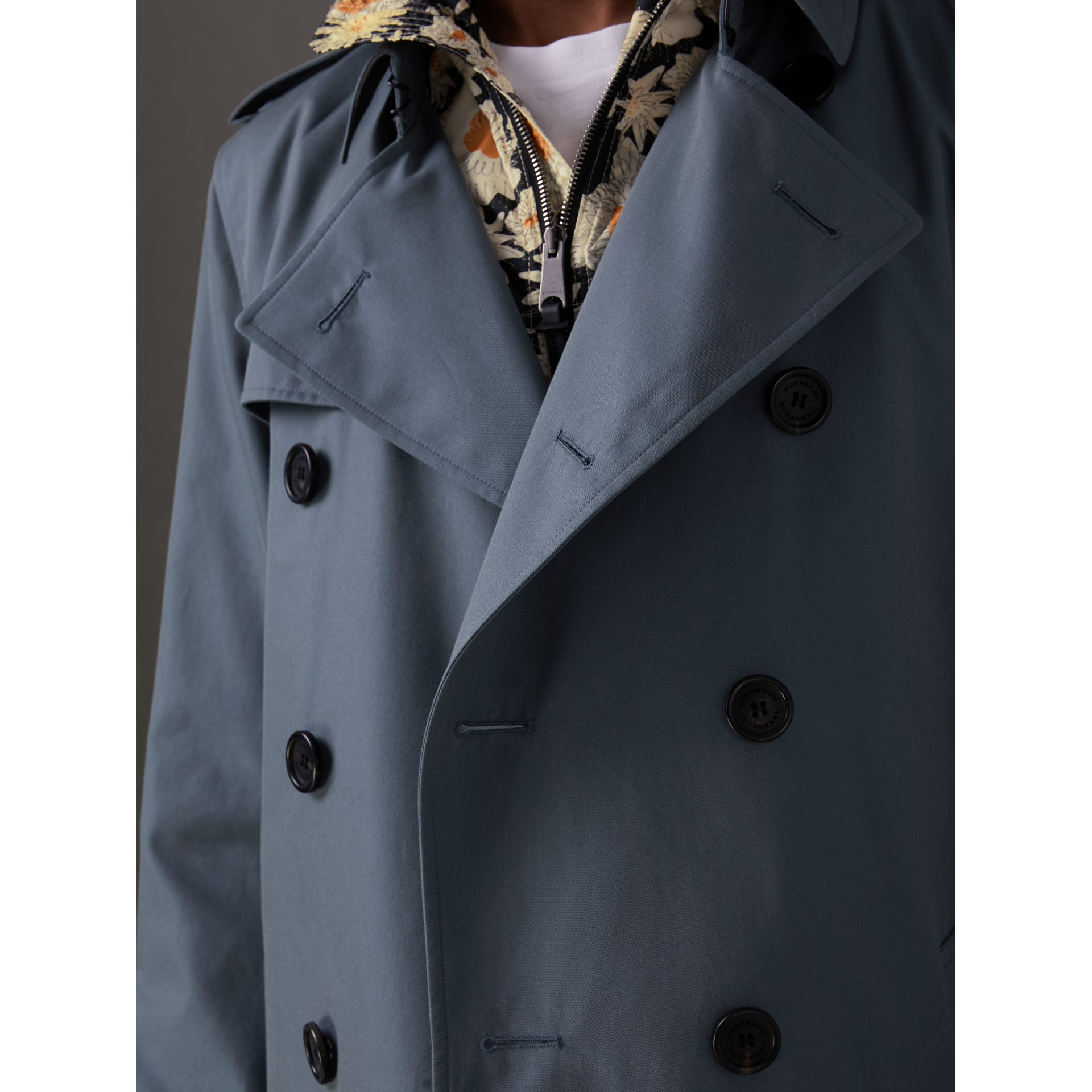 Cotton Gabardine Trench Coat in Empire Blue - Men | Burberry Singapore - gallery image 5