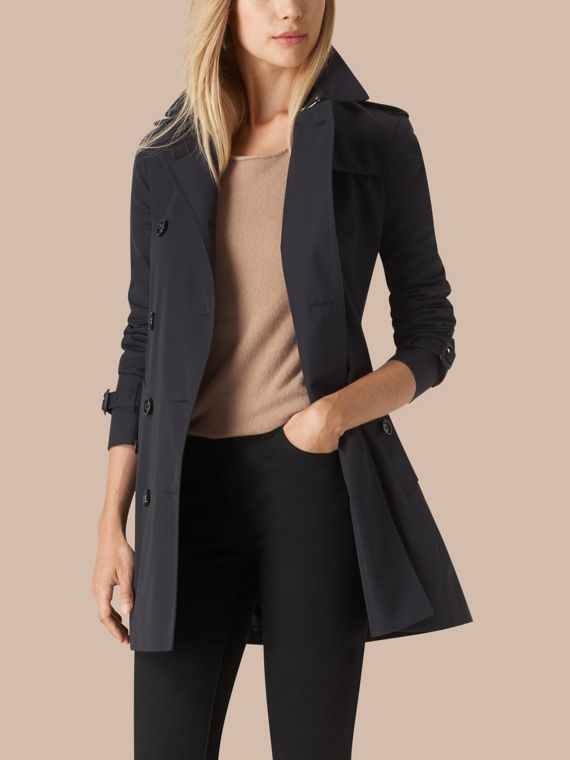 Navy Cotton Gabardine Trench Coat - cell image 2