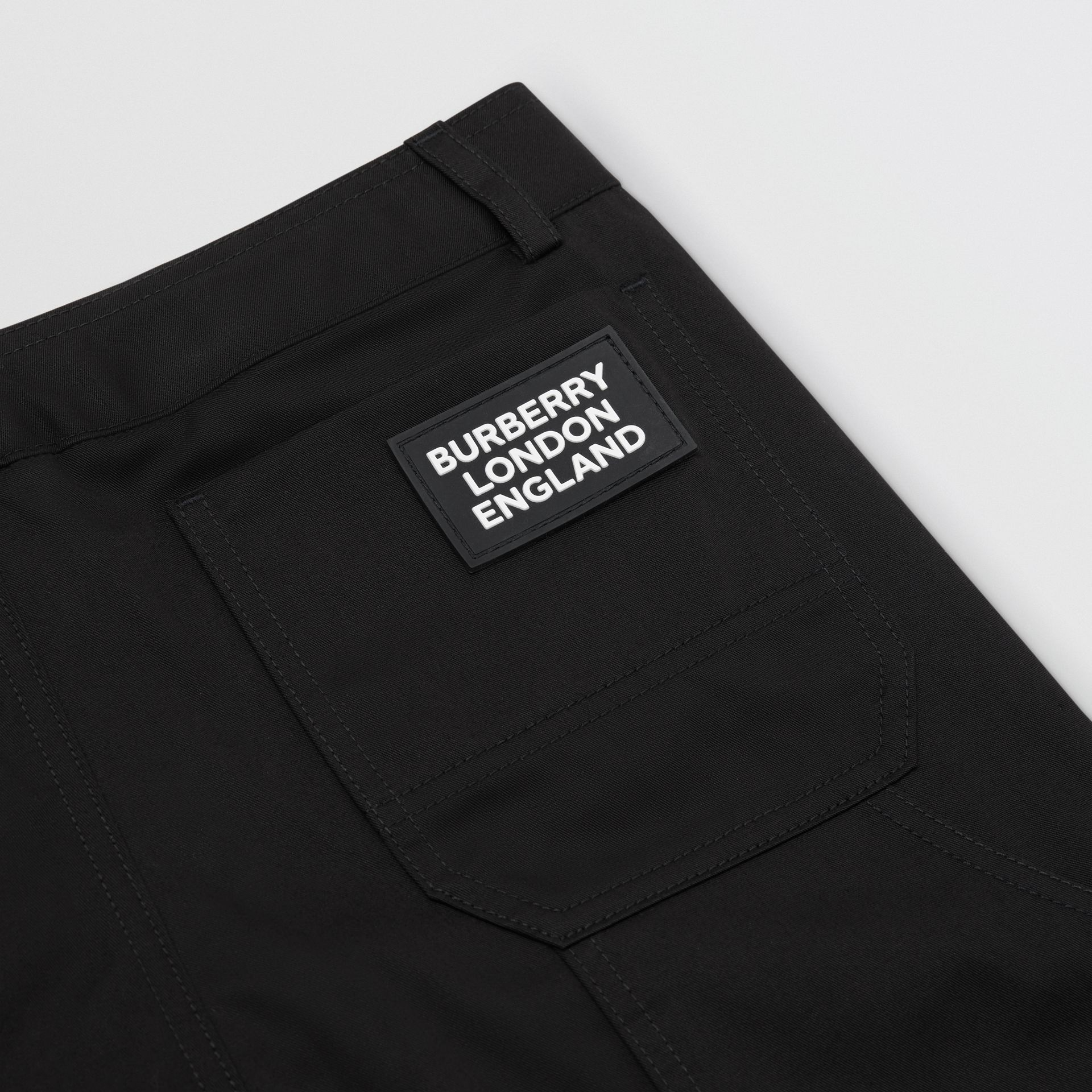 Logo Detail Cotton Twill Trousers in Black | Burberry - gallery image 1