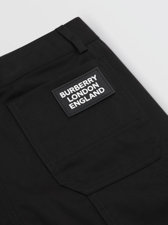 Logo Detail Cotton Twill Trousers in Black | Burberry - cell image 1