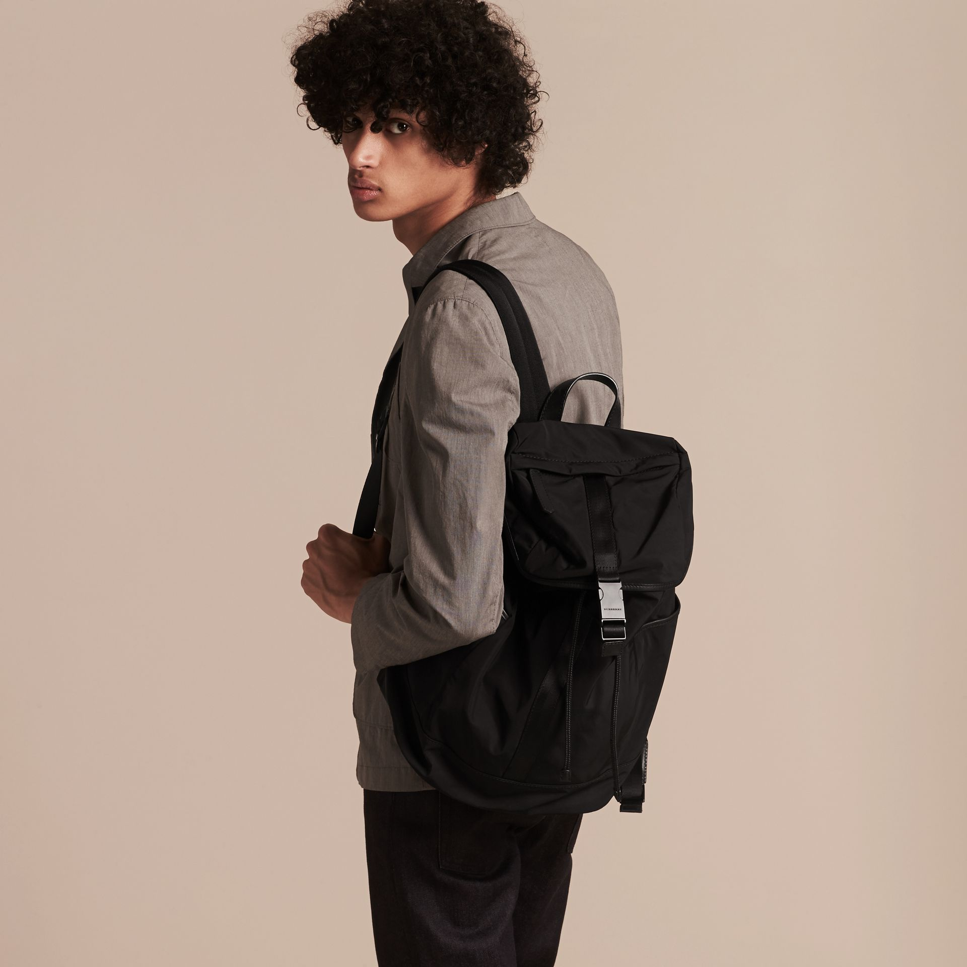 Leather Trim Lightweight Backpack in Black - Men | Burberry - gallery image 3