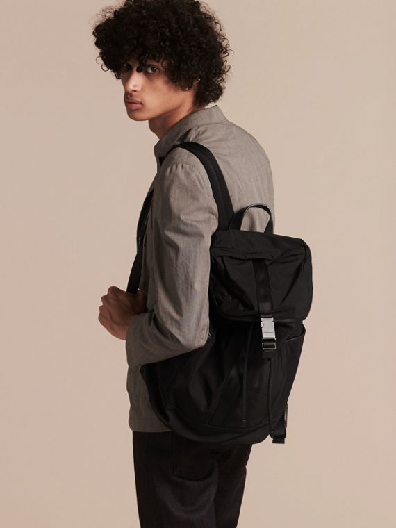 Black Leather Trim Lightweight Backpack Black - cell image 2