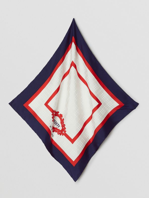 Reissued Archive Society Print Silk Small Square Scarf in Navy | Burberry - cell image 3