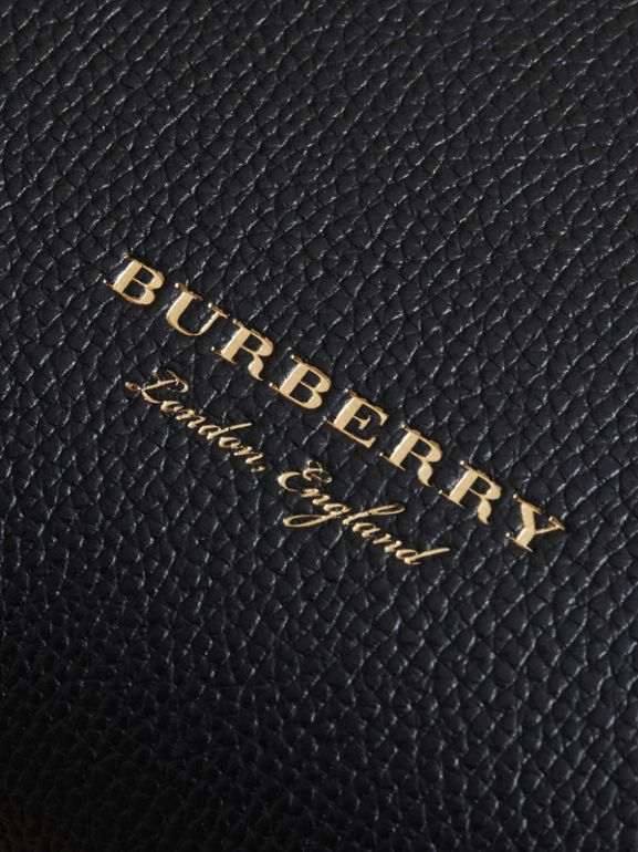 Small Grainy Leather and House Check Tote Bag in Black - Women | Burberry United States - cell image 1
