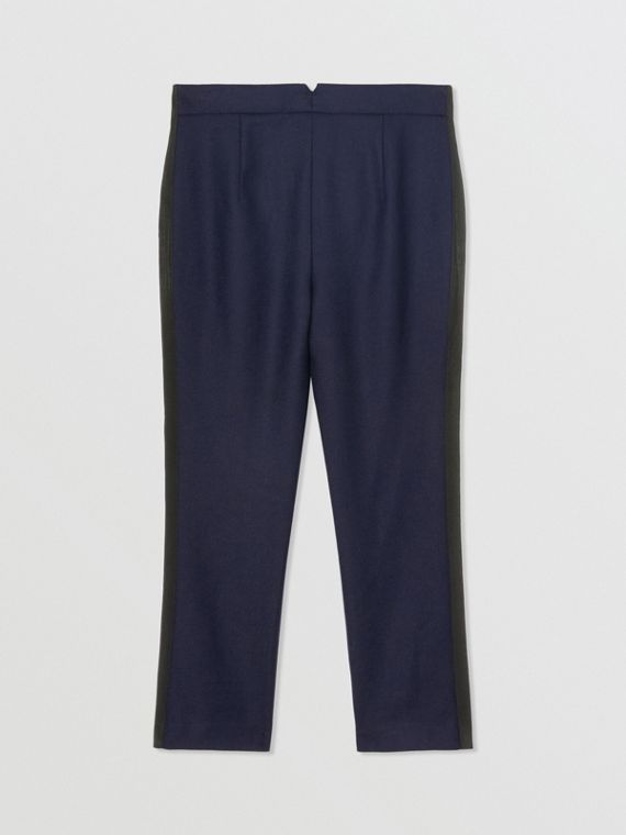 Stripe Detail Wool Twill Tailored Trousers in Navy