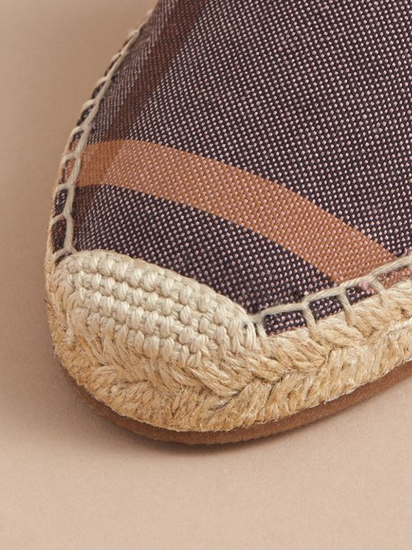 Leather and Check Linen Cotton Espadrille Sandals in Cerise Purple | Burberry United States - cell image 1