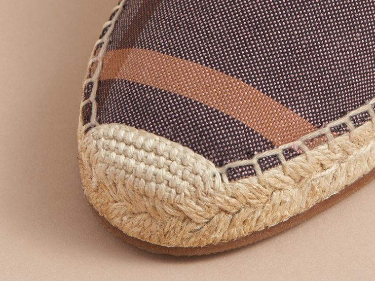 Leather and Check Linen Cotton Espadrille Sandals in Cerise Purple - Women | Burberry - cell image 1