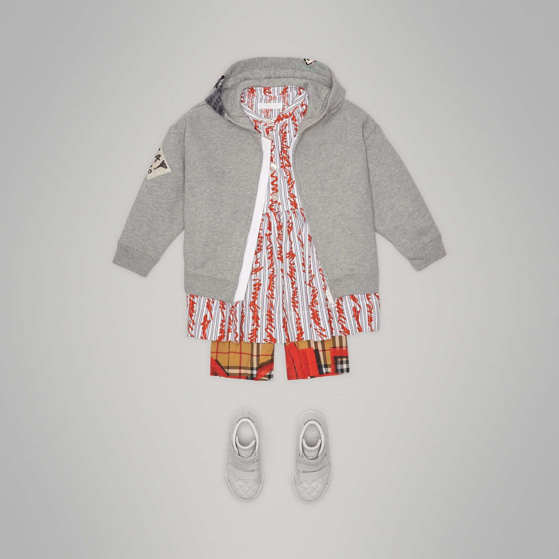 London Street Art Print Cotton Hooded Top in Grey Melange - Girl | Burberry - gallery image 2