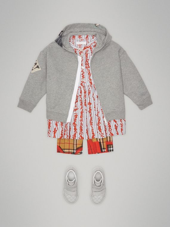 London Street Art Print Cotton Hooded Top in Grey Melange - Girl | Burberry - cell image 2