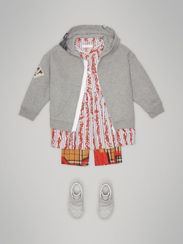 London Street Art Print Cotton Hooded Top in Grey Melange | Burberry - cell image 2