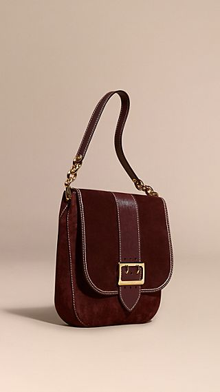 The Buckle Satchel in Suede with Topstitching