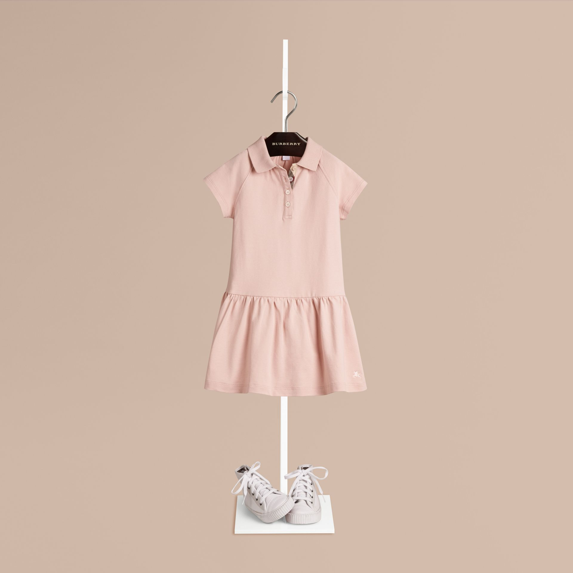 Chalk pink Check Placket Cotton Blend T-Shirt Dress Chalk Pink - gallery image 1