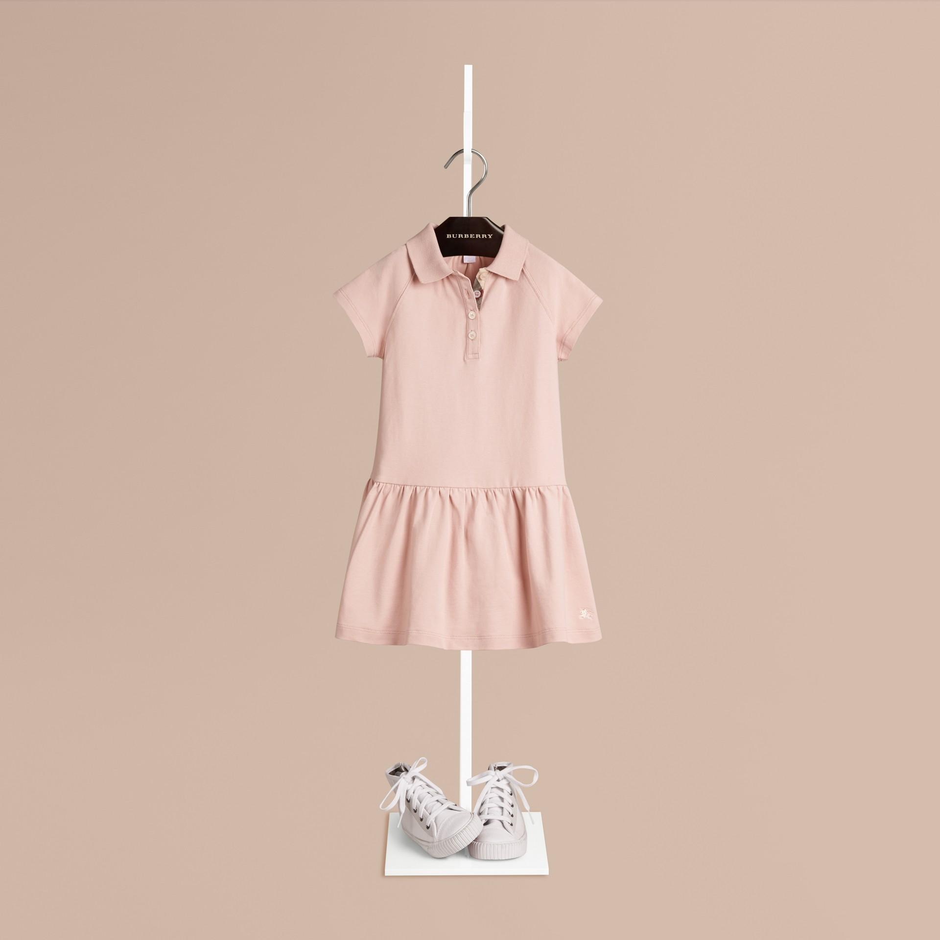Chalk pink Vestido estilo T-shirt de algodão com tira de botões xadrez Chalk Pink - galeria de imagens 1