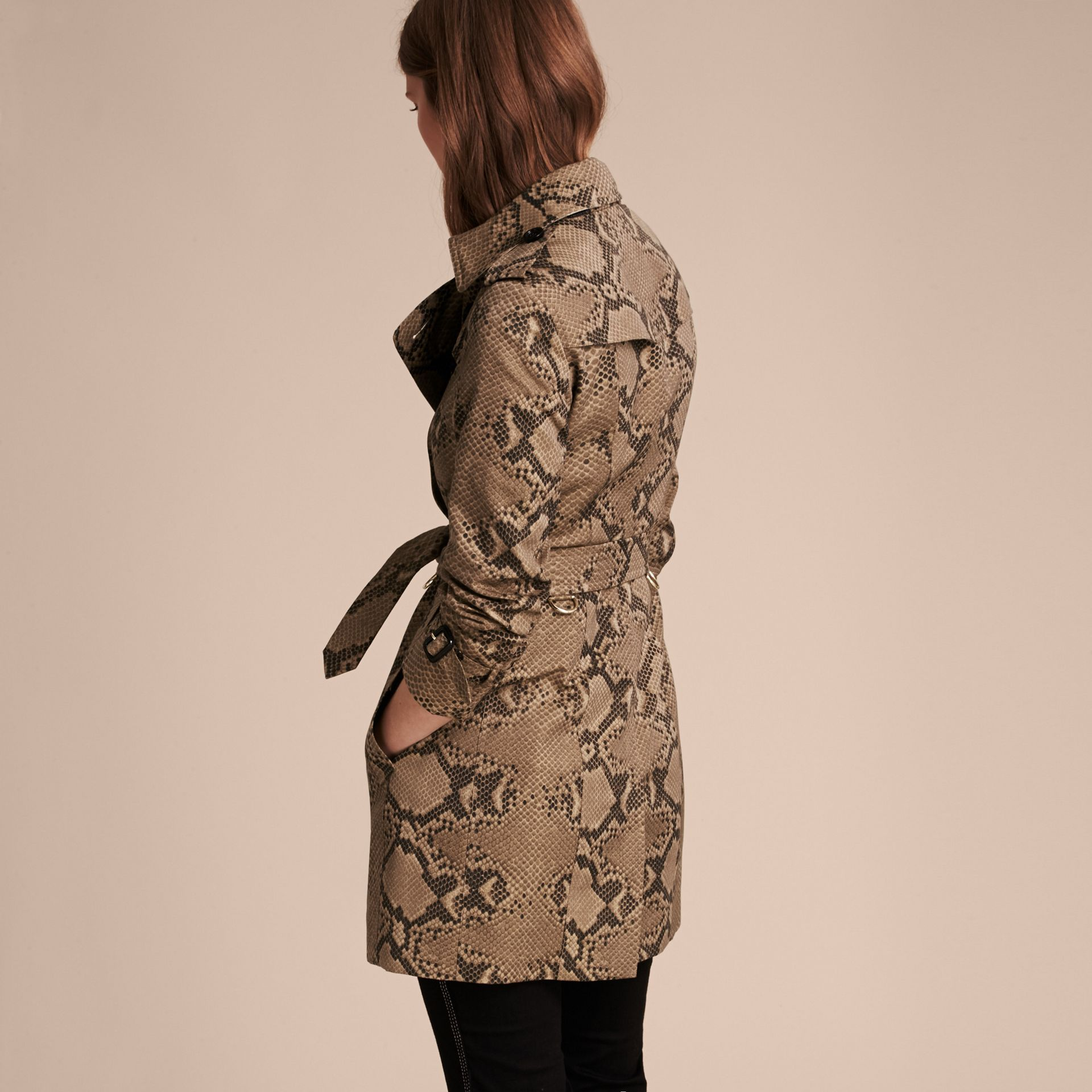 Honey/black Python Print Cotton Trench Coat - gallery image 3