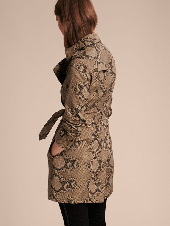 Honey/black Python Print Cotton Trench Coat - cell image 2