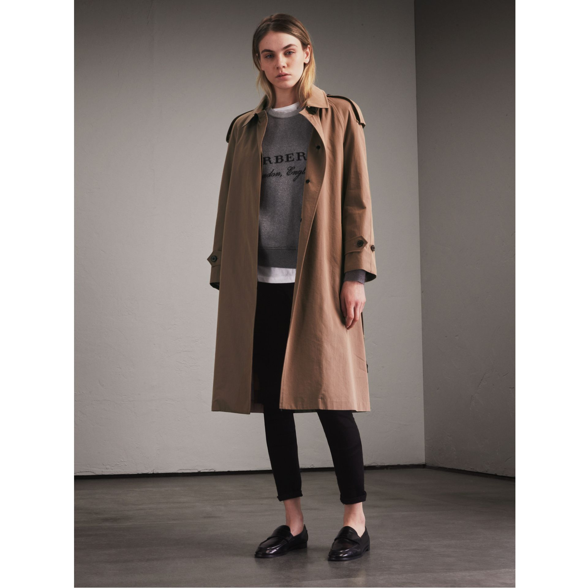 Taupe Tropical Gabardine Trench Coat - gallery image 1