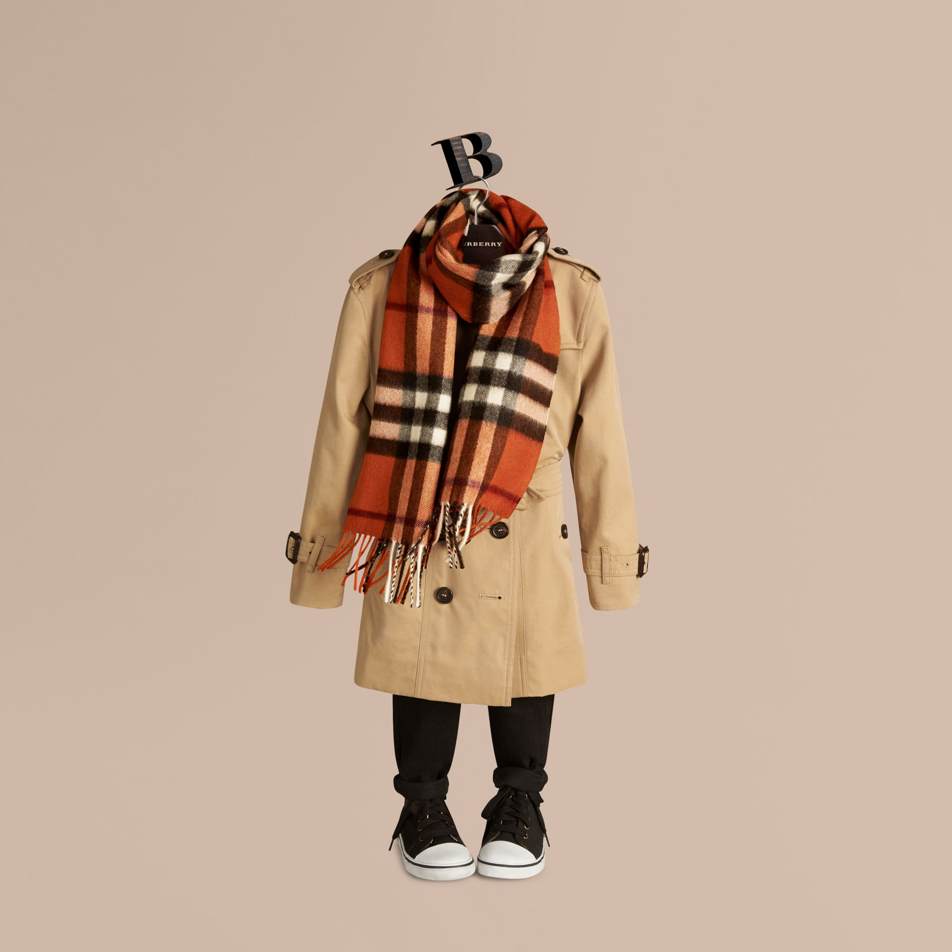 The Mini Classic Cashmere Scarf in Check in Burnt Orange - gallery image 3