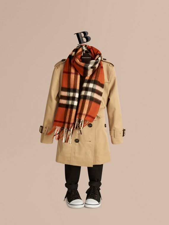 The Mini Classic Cashmere Scarf in Check Burnt Orange - cell image 2