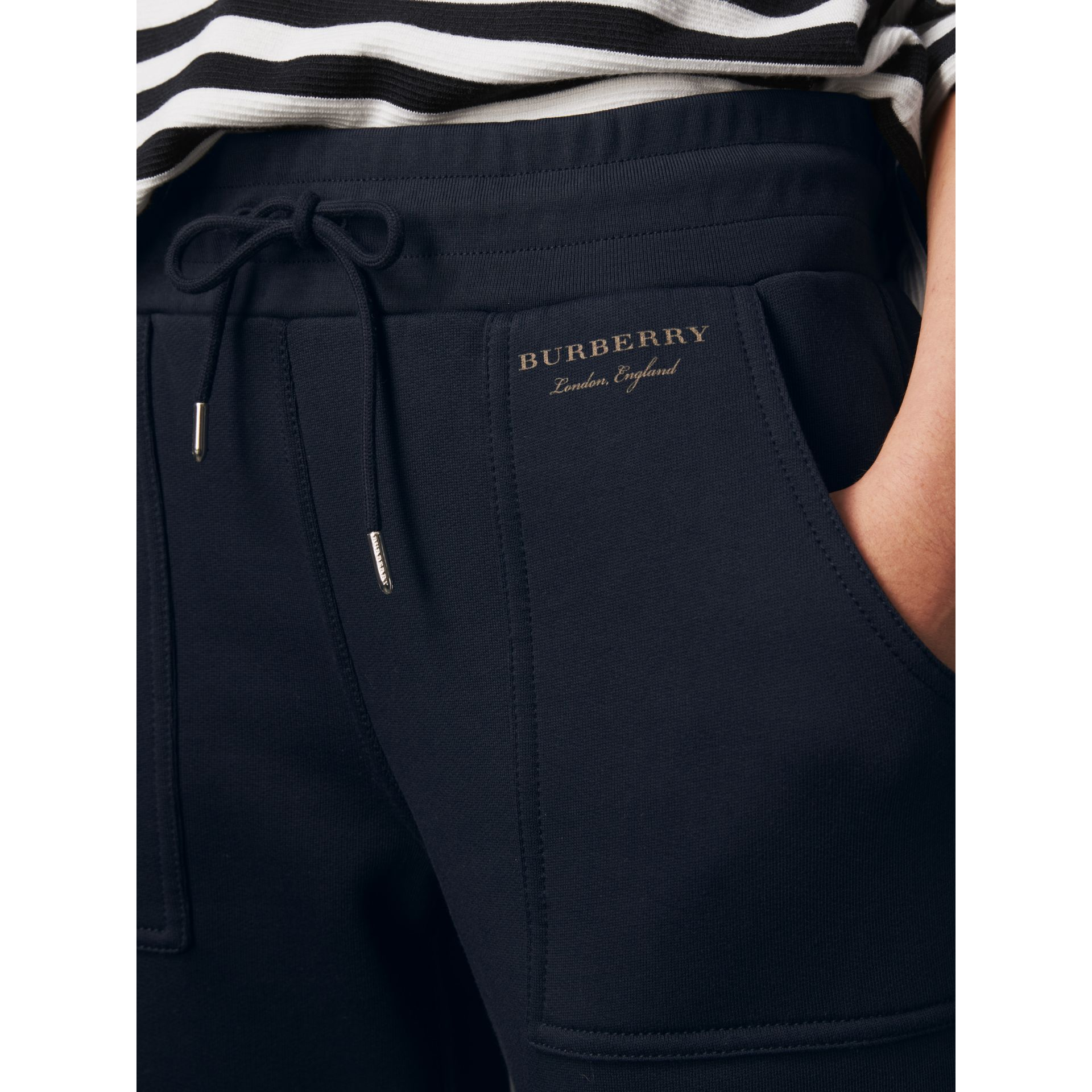 Cropped Jersey Sweatpants in Navy - Women | Burberry United Kingdom - gallery image 2