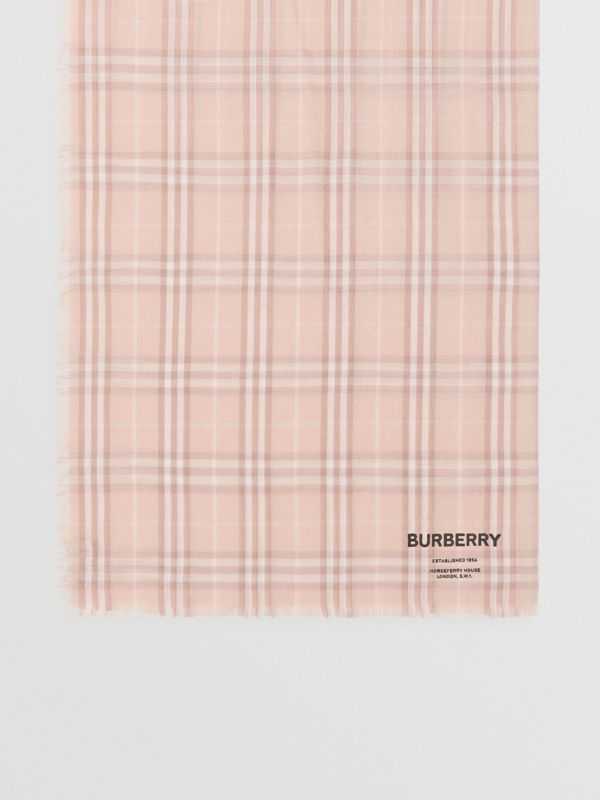 Embroidered Vintage Check Lightweight Cashmere Scarf in Soft Peach | Burberry - cell image 2