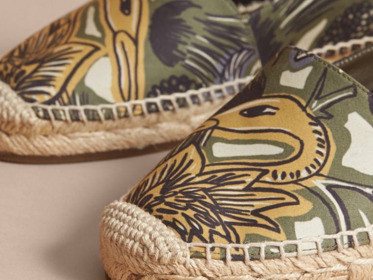 Beasts Print Cotton Blend Espadrilles in Clay Green - Women | Burberry United Kingdom - cell image 1