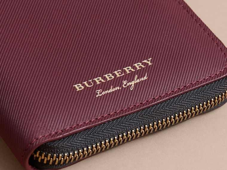 Trench Leather Ziparound Wallet in Wine - Men | Burberry Australia - cell image 1
