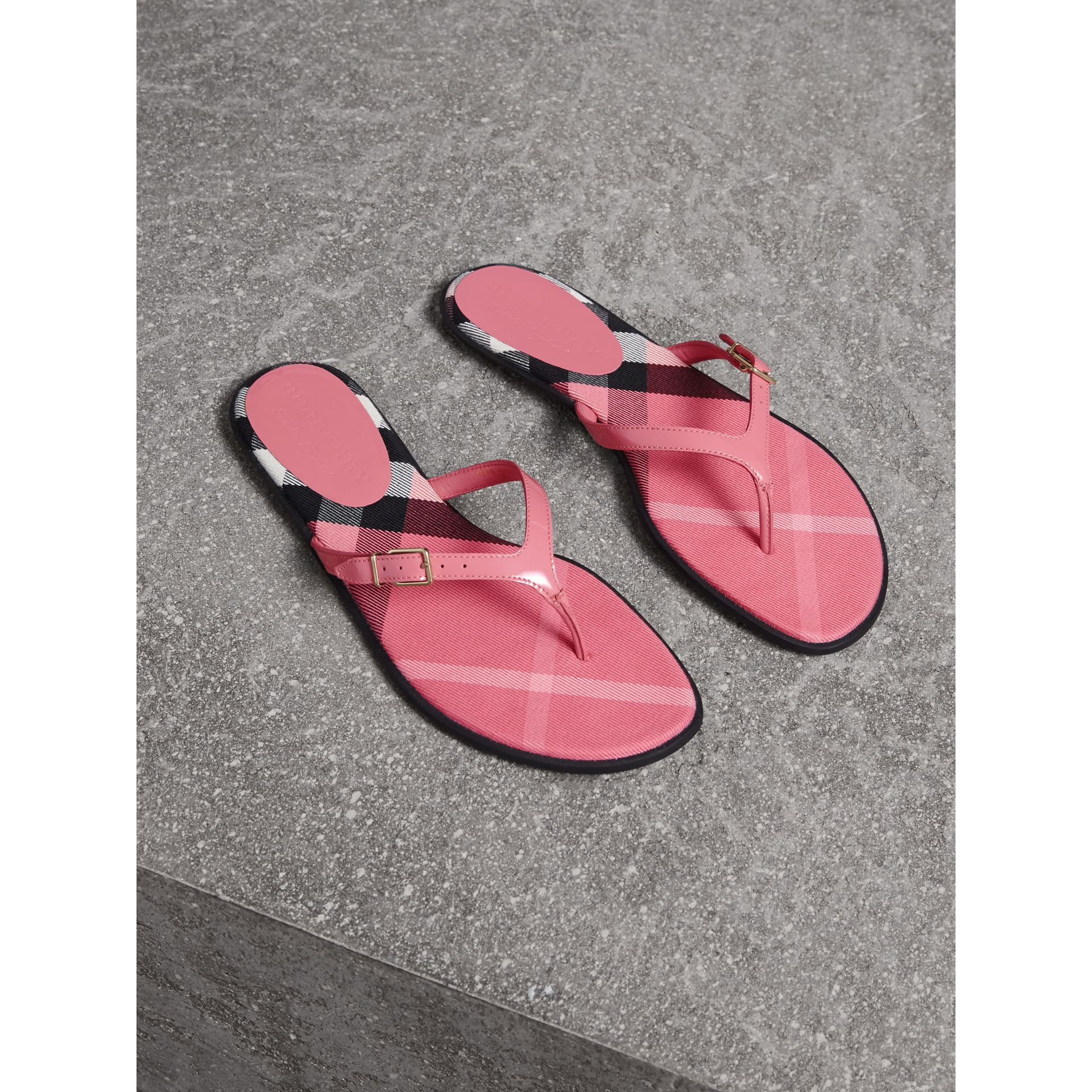 House Check and Patent Leather Sandals in Berry Pink - Women | Burberry United Kingdom - gallery image 1