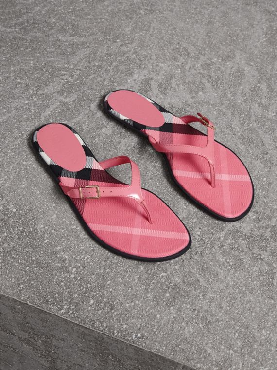 House Check and Patent Leather Sandals in Berry Pink