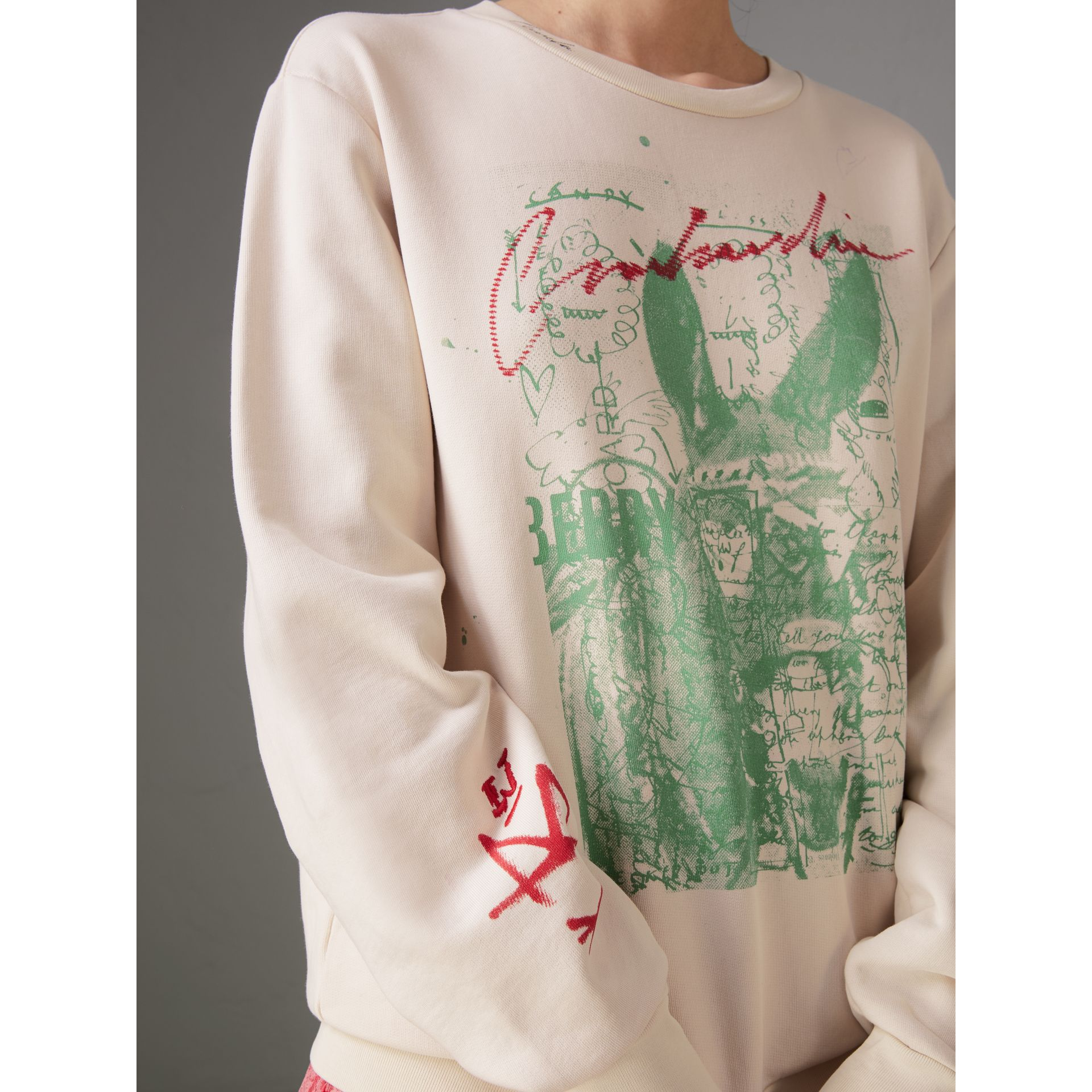 Postcard Print Cotton Sweatshirt in Pale Pink - Women | Burberry - gallery image 1
