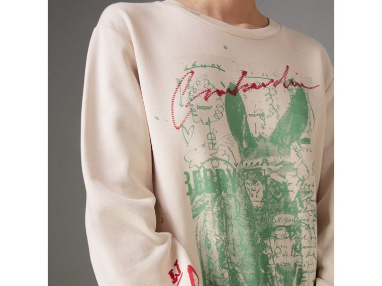 Postcard Print Cotton Sweatshirt in Pale Pink - Women | Burberry United Kingdom - cell image 1