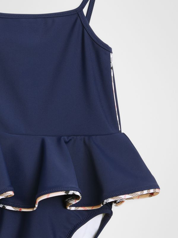 Check Detail Peplum One-piece Swimsuit in Navy - Children | Burberry - cell image 3