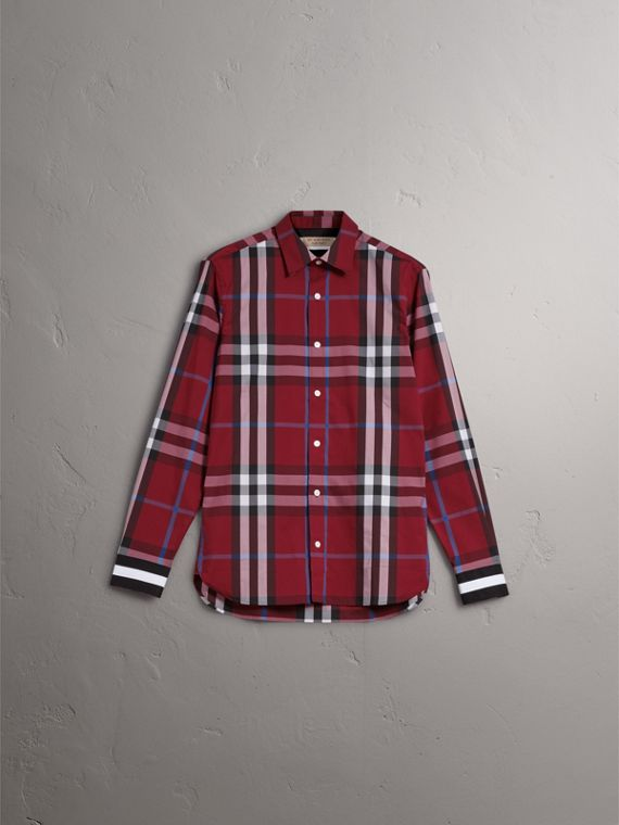 Striped Cuff Check Cotton Blend Shirt in Crimson Red - Men | Burberry Australia - cell image 3
