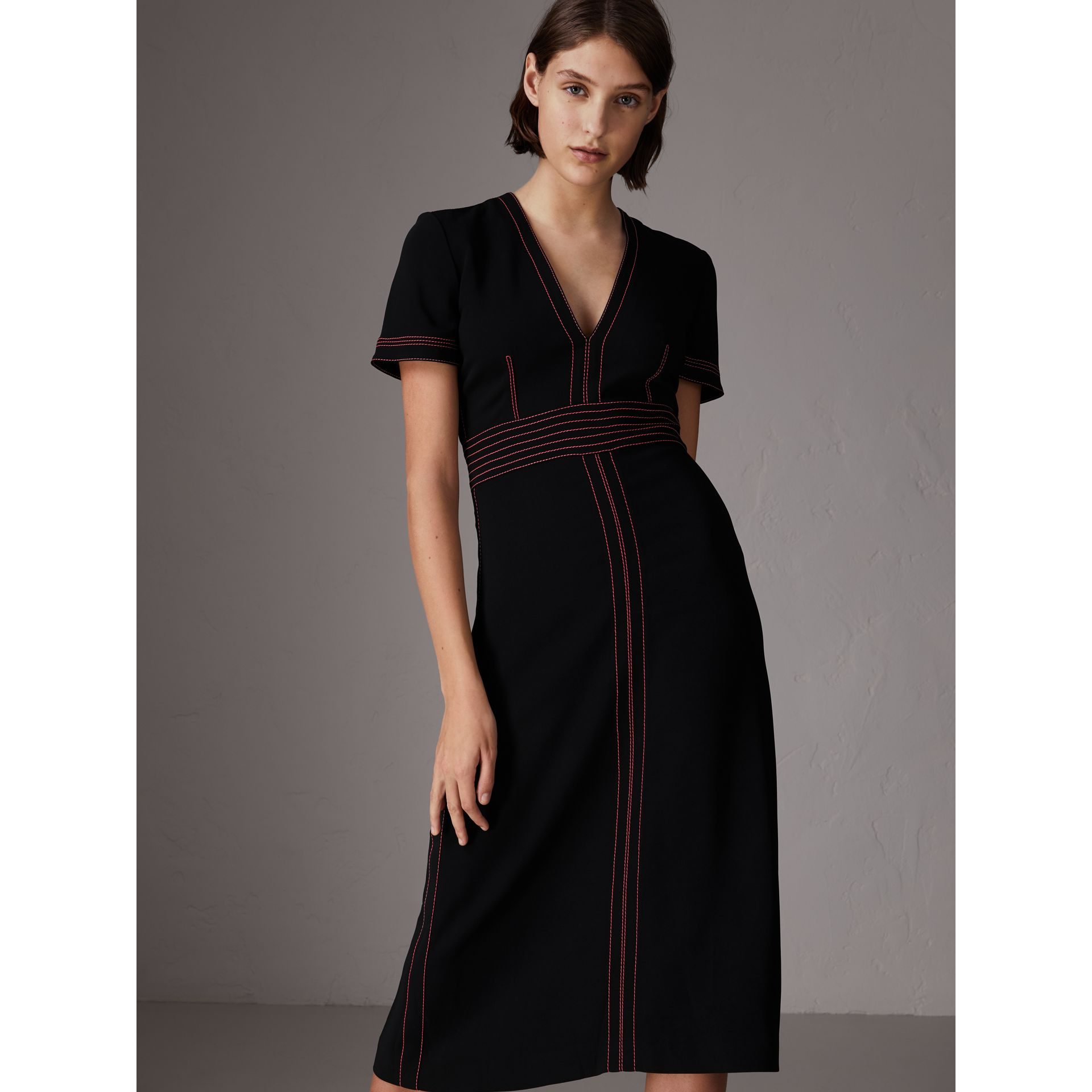 Contrast Topstitch Detail Crepe V-neck Dress in Black - Women | Burberry - gallery image 0