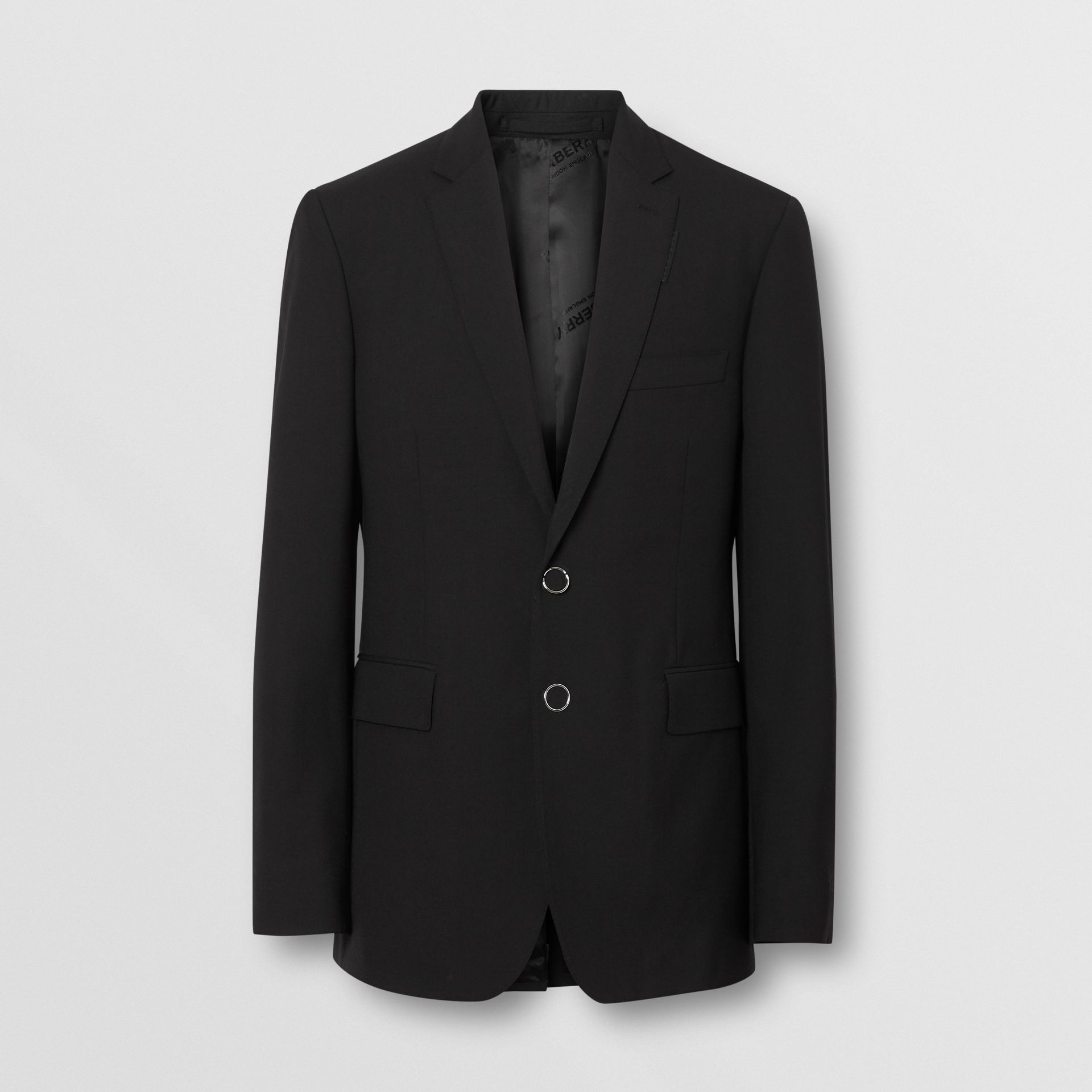 Slim Fit Press-stud Tumbled Wool Tailored Jacket in Black - Men | Burberry - gallery image 3