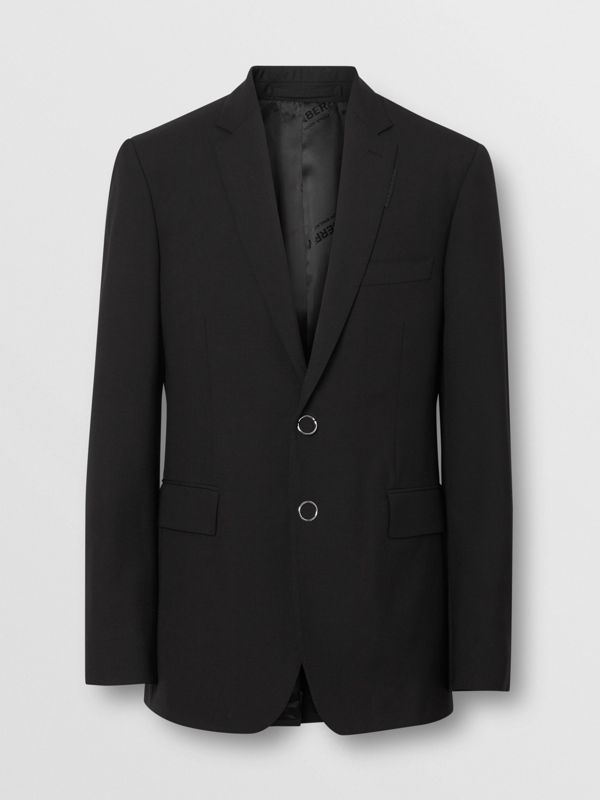 Slim Fit Press-stud Tumbled Wool Tailored Jacket in Black - Men | Burberry - cell image 3