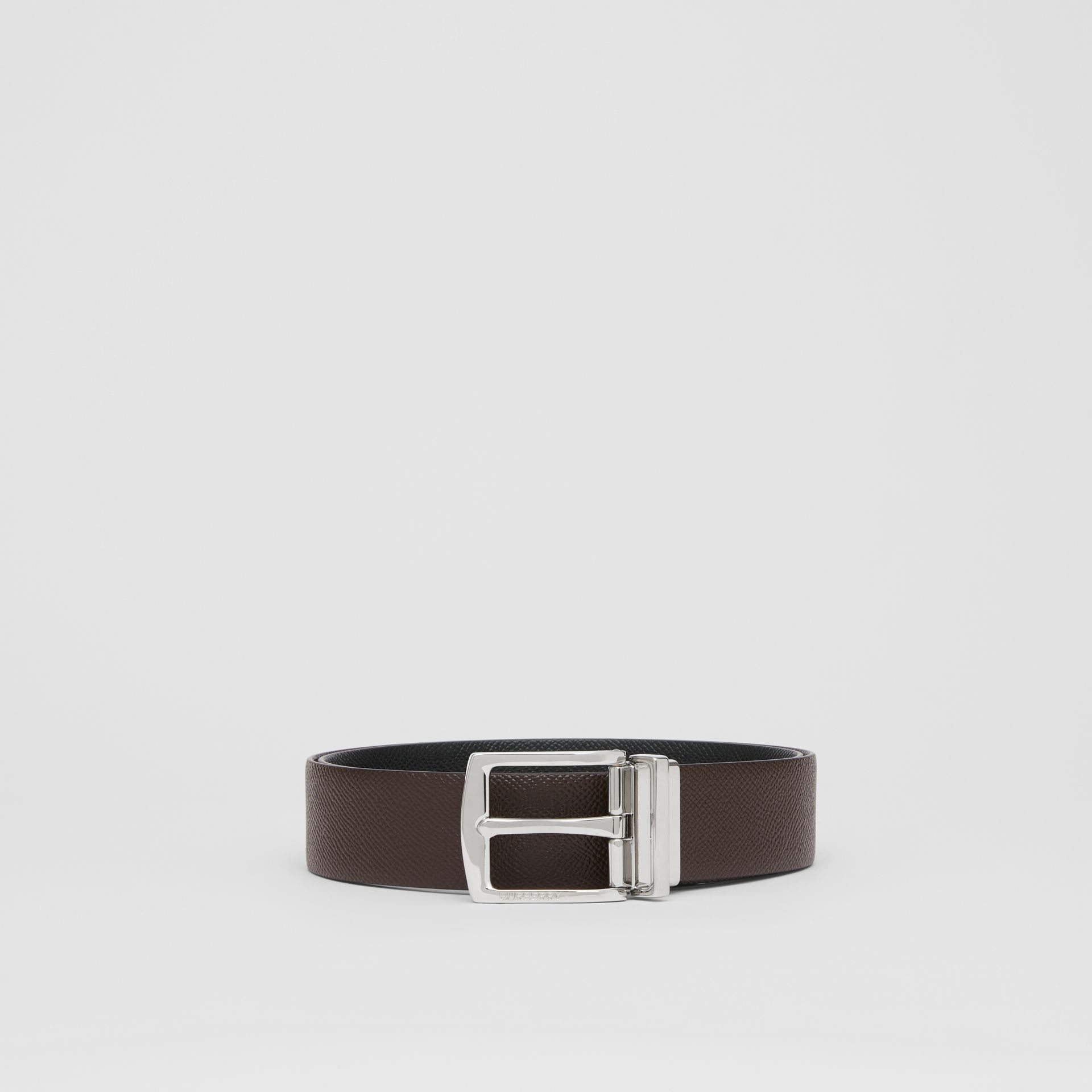Reversible Grainy Leather Belt in Chocolate/black - Men | Burberry Singapore - gallery image 3
