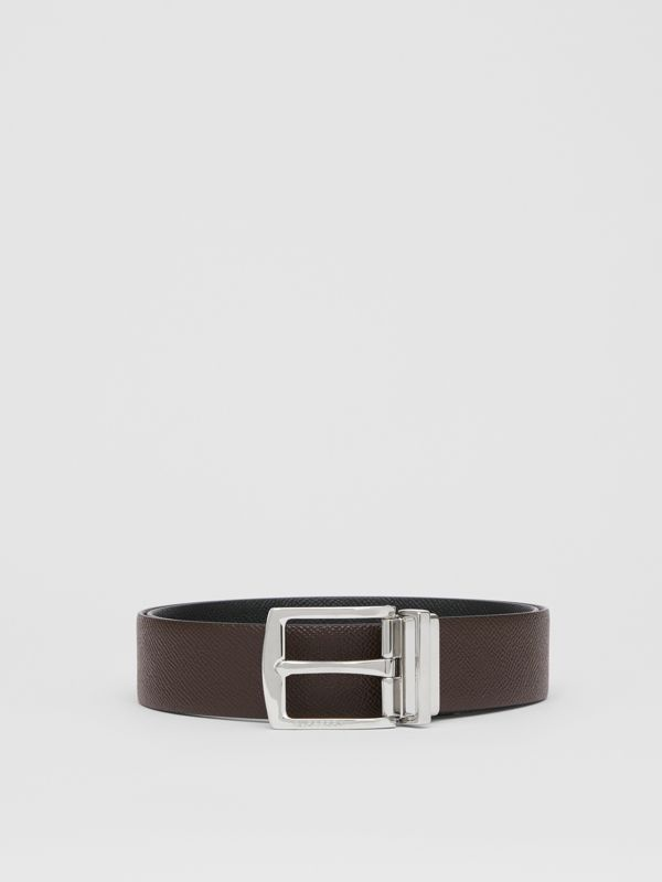 Reversible Grainy Leather Belt in Chocolate/black - Men | Burberry - cell image 3