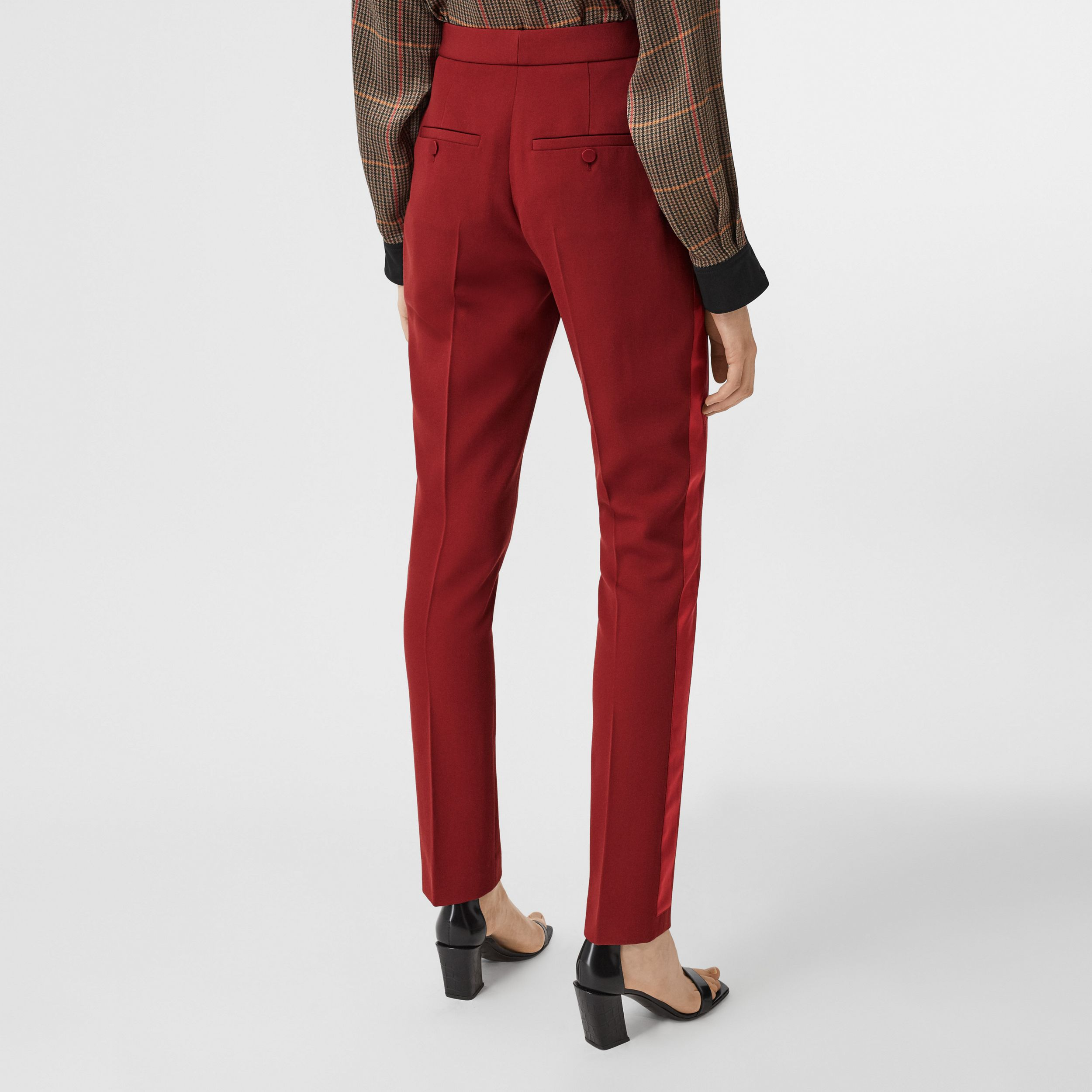 Silk Satin Side Stripe Wool Tailored Trousers in Dark Carmine - Women | Burberry Australia - 3