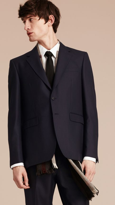 Navy Classic Fit Wool Part-canvas Suit Navy - Image 8
