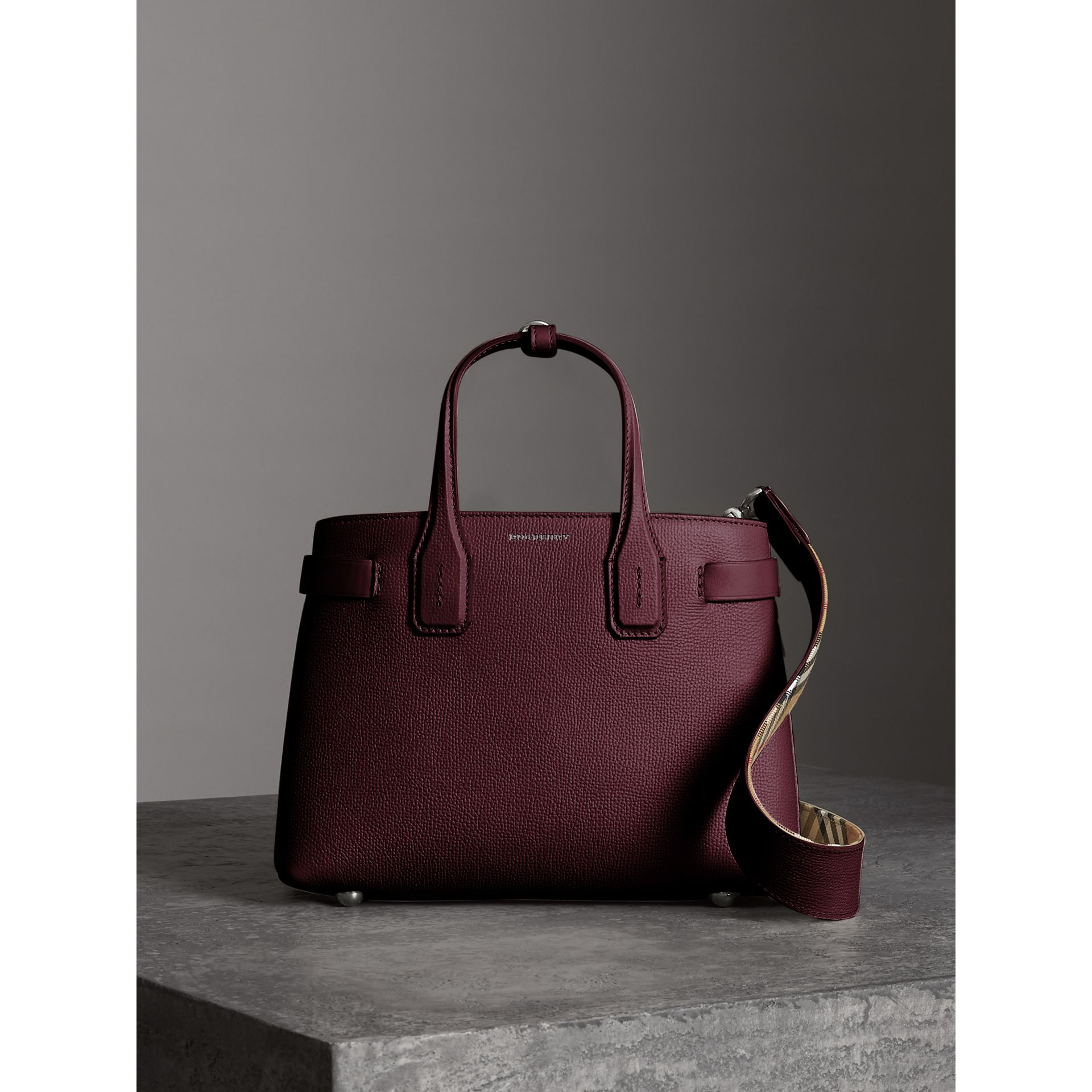 The Small Banner in Leather and Vintage Check in Mahogany Red - Women | Burberry - gallery image 6