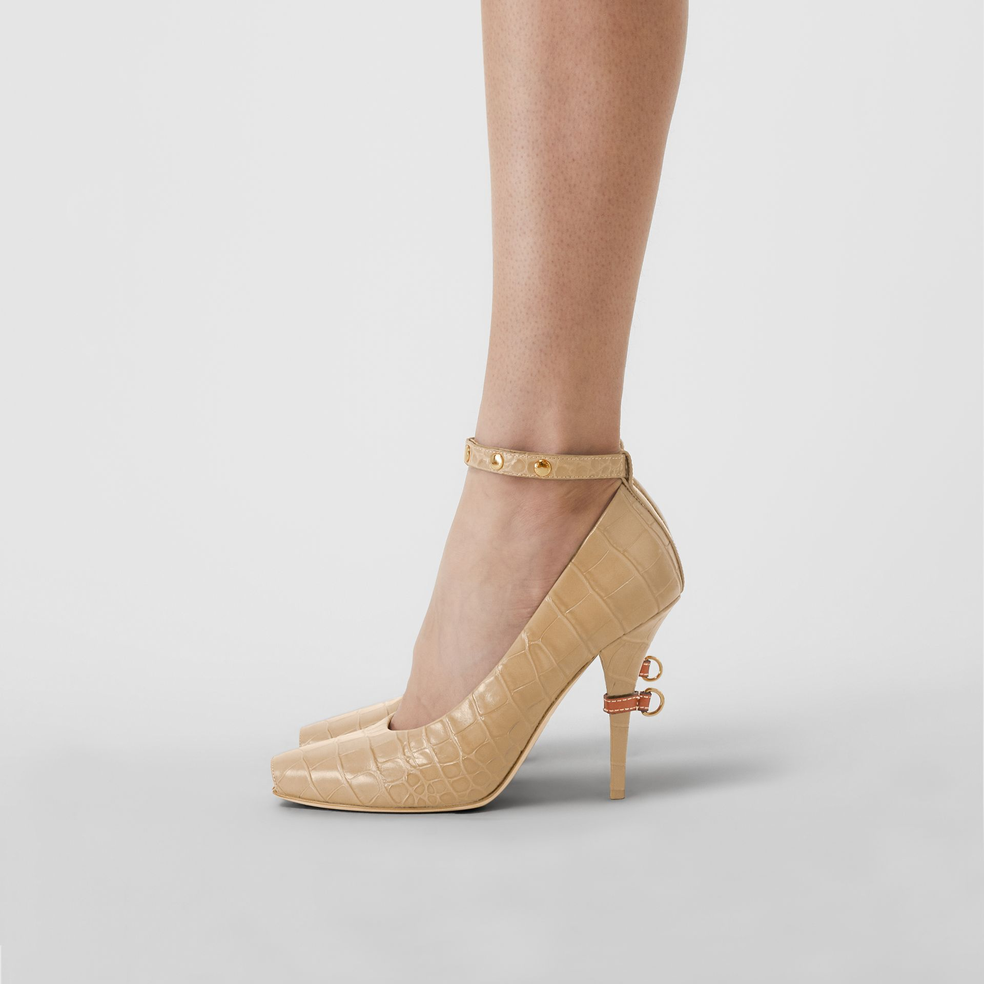 D-ring Detail Embossed Leather Peep-toe Pumps in Dark Honey - Women | Burberry - gallery image 2
