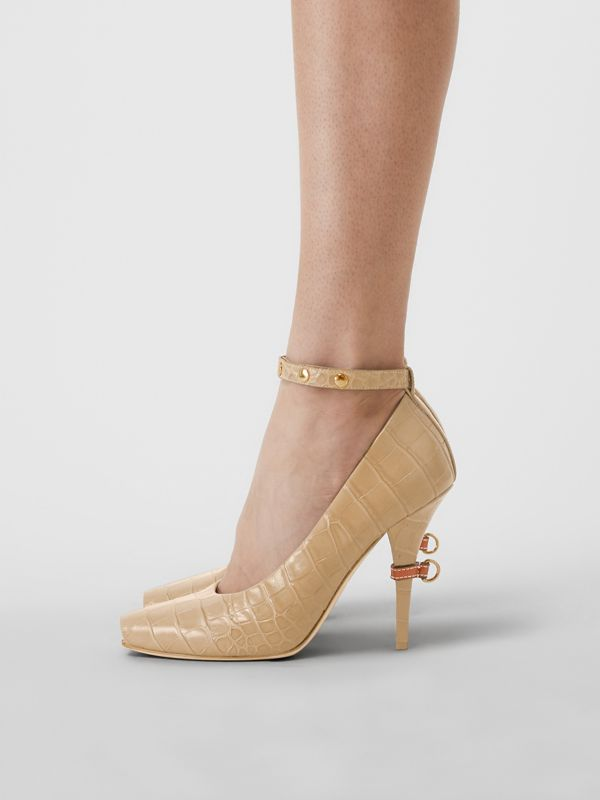 D-ring Detail Embossed Leather Peep-toe Pumps in Dark Honey - Women | Burberry - cell image 2
