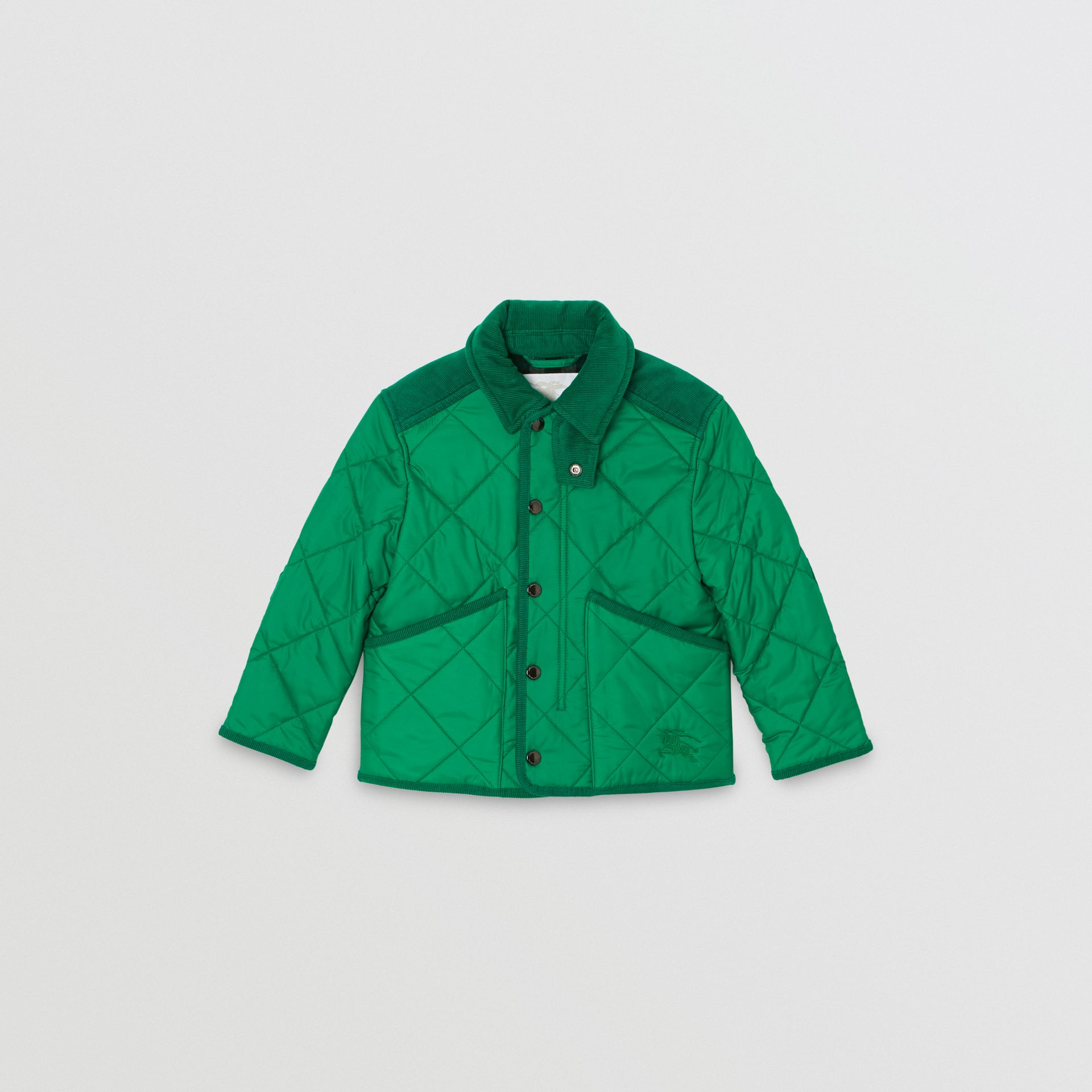Corduroy Trim Diamond Quilted Jacket in Vibrant Green | Burberry United Kingdom - gallery image 0