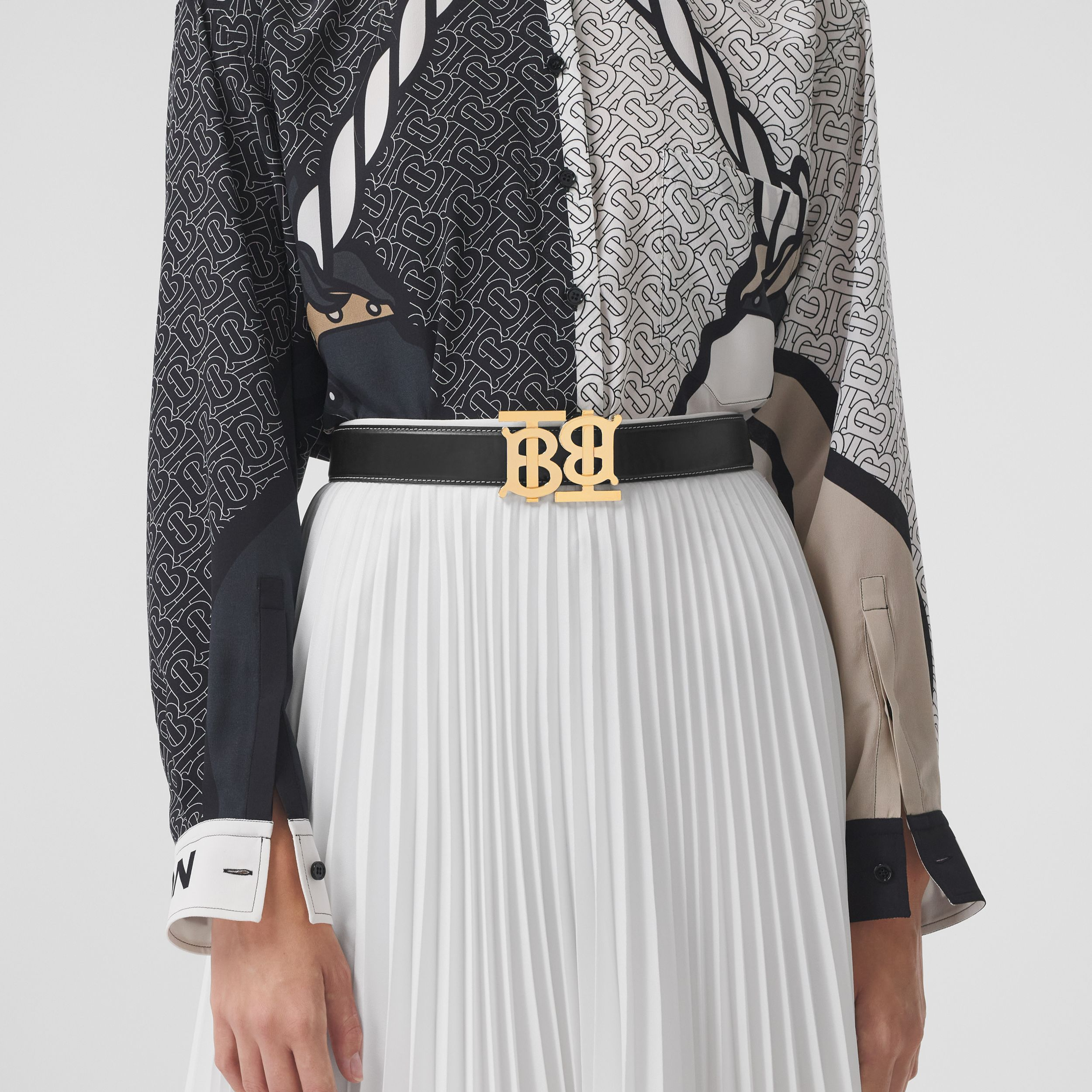 Double Monogram Motif Leather Belt in Black - Women | Burberry Australia - 3