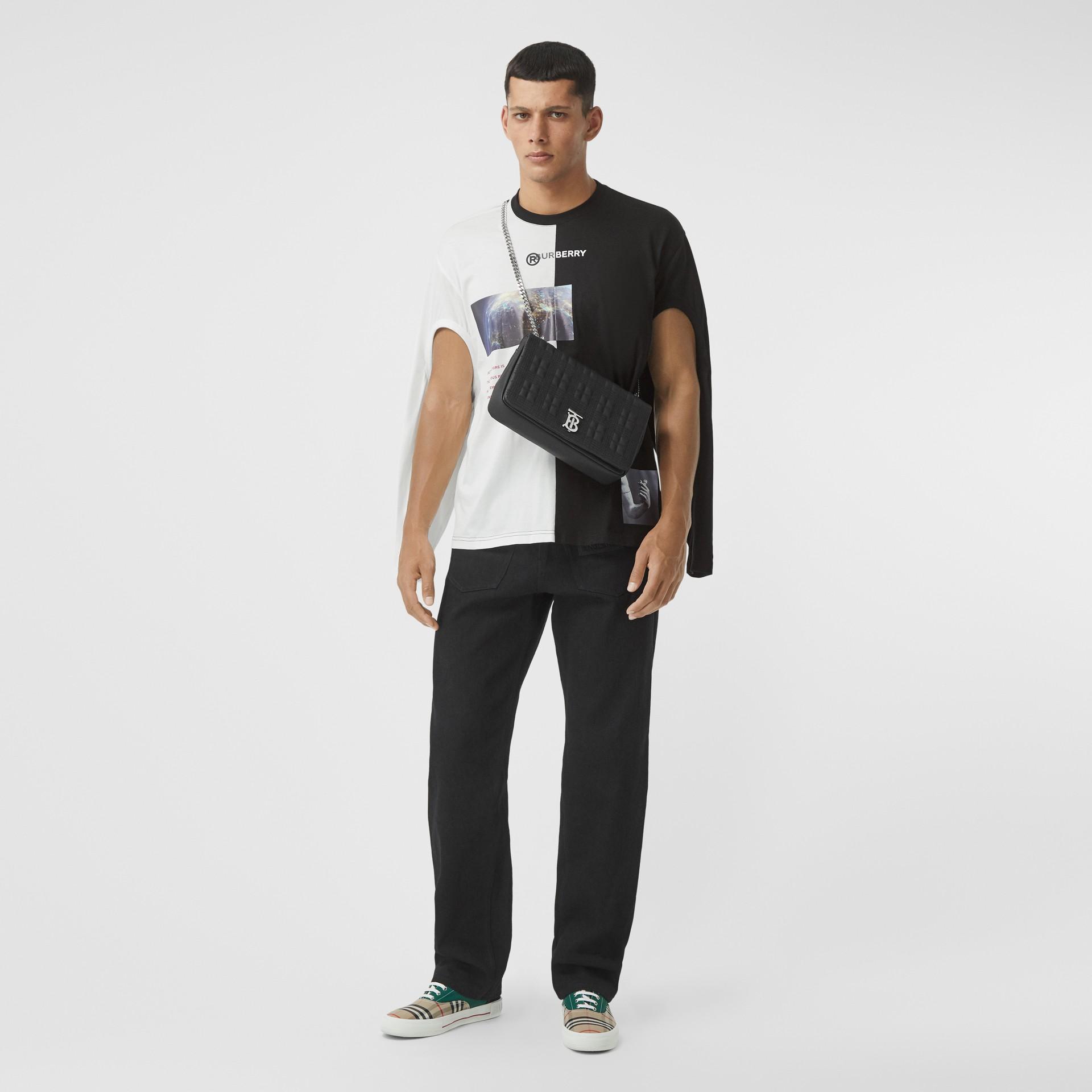 Haut oversize en coton à imprimé montage avec manches à découpes (Noir/blanc) - Homme | Burberry - photo de la galerie 5