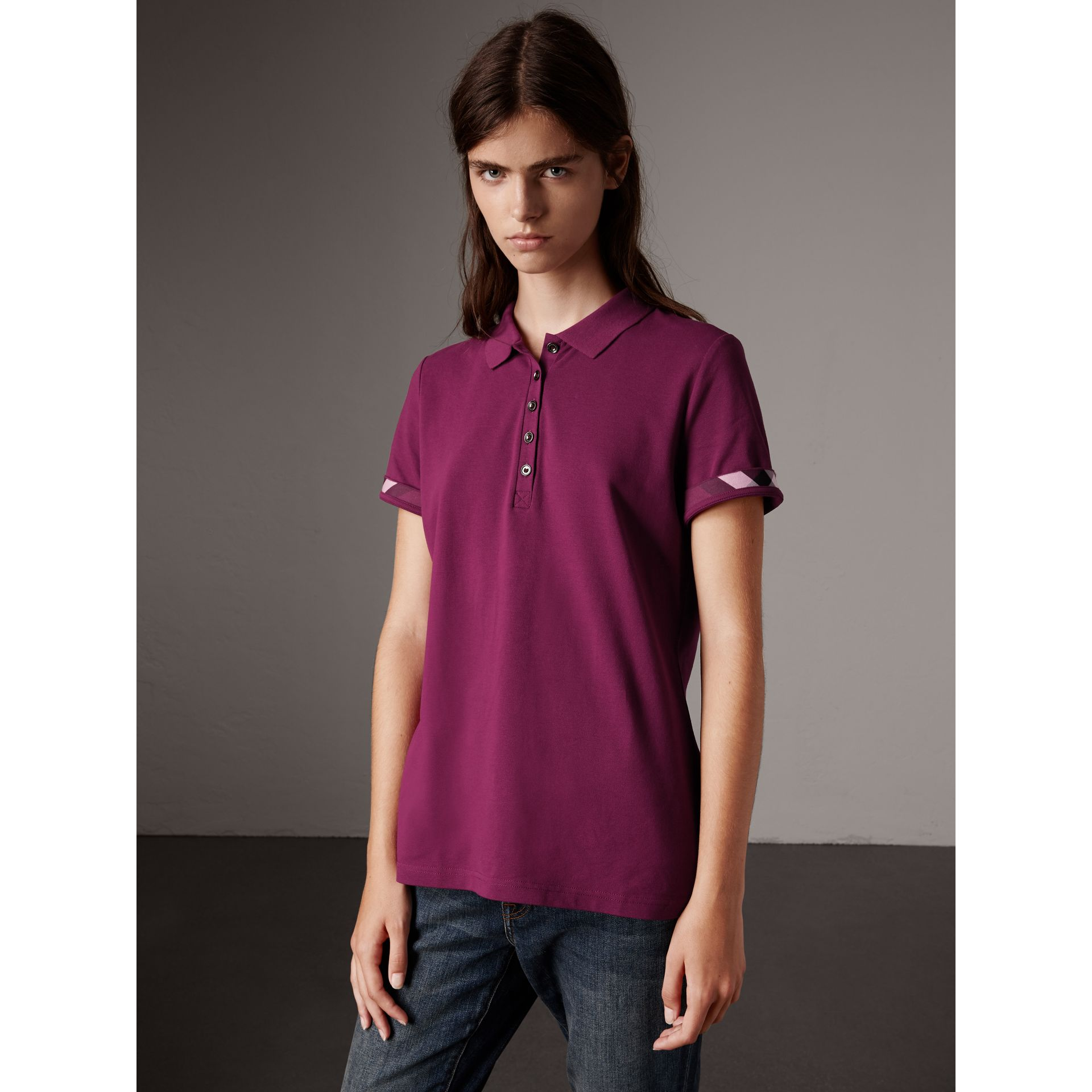 Check Trim Stretch Cotton Piqué Polo Shirt in Magenta Pink - Women | Burberry - gallery image 1